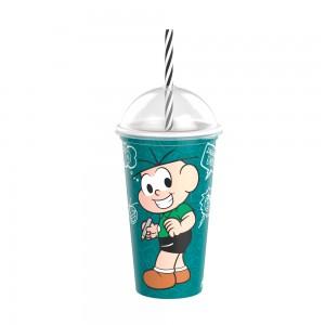 Imagem do produto - Copo Shake de Plástico 500 ml com Tampa e Canudo Cebolinha Mônica Laços