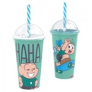 Imagem do produto - Copo Shake de Plástico 500 ml com Tampa e Canudo Cebolinha
