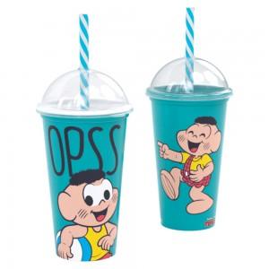 Imagem do produto - Copo Shake de Plástico 500 ml com Tampa e Canudo Cascão