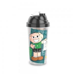 Imagem do produto - Shakeira de Plástico 580 ml com Tampa Rosca e Misturador Cebolinha e Cascão Mônica Laços
