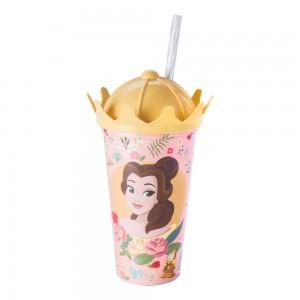 Imagem do produto - Copo de Plástico 500 ml com Tampa Coroa e Canudo Princesas Bela