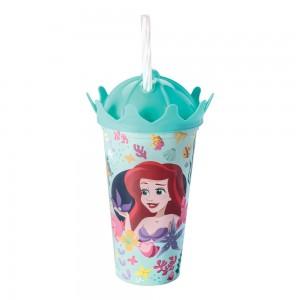 Imagem do produto - Copo de Plástico 500 ml com Tampa Coroa e Canudo Princesas Pequena Sereia