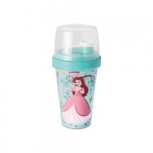 Imagem do produto - Mini Shakeira de Plástico 320 ml com Misturador, Fechamento Rosca e Sobretampa Articulável Princesas Pequena Sereia