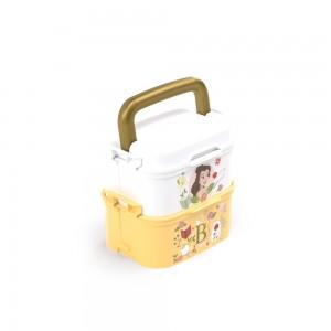 Imagem do produto - Mini Marmita de Plástico com Tampa, 2 Compartimentos, 2 Divisórias Removíveis, Alça, Travas Laterais e Garfo Princesas Bela