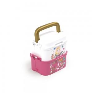 Imagem do produto - Mini Marmita de Plástico com Tampa, 2 Compartimentos, 2 Divisórias Removíveis, Alça, Travas Laterais e Garfo Princesas Bela Adormecida