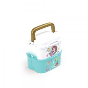 Imagem do produto - Mini Marmita de Plástico com Tampa, 2 Compartimentos, 2 Divisórias Removíveis, Alça, Travas Laterais e Garfo Princesas Pequena Sereia