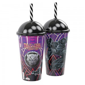 Imagem do produto - Copo Shake de Plástico 500 ml com Tampa e Canudo Pantera Negra