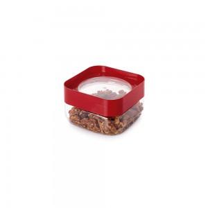 Imagem do produto - Pote de Plástico Quadrado 510 ml com Tampa Rosca Plug Decora Vermelho