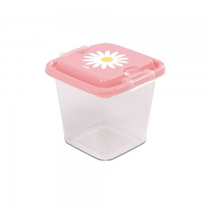 Imagem do produto - Pote de Plástico Quadrado 630 ml com Travas Clic e Trave Camomila