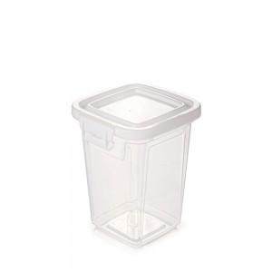 Imagem do produto - Pote de Plástico Retangular 980 ml com Tampa Fixa e Trava Mantimentos Duo