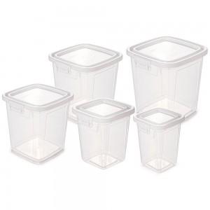 Imagem do produto - Conjunto de Potes de Plástico Retangulares para Mantimentos com Tampa Fixa e Trava Mantimentos Duo