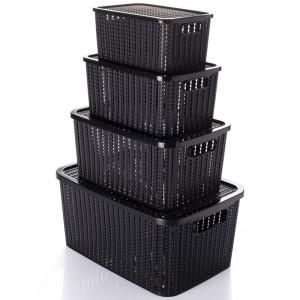 Imagem do produto - Conjunto de Caixas de Plástico Retangulares Organizadoras com Tampa e Pegador Trama 4 Peças