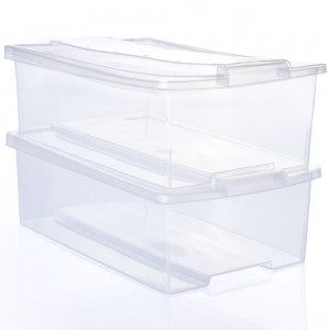 Imagem do produto - Conjunto de Caixas de Plástico Organizadoras 9,8 L com Tampa Empilhável 2 Peças