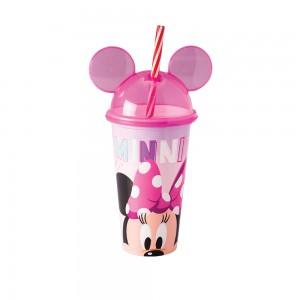 Imagem do produto - Copo de Plástico 500 ml com Tampa em Formato de Orelha e Canudo Minnie