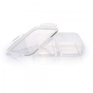 Imagem do produto - Pote de Plástico Retangular Hermético Trava Mais 2 Divisórias Verde