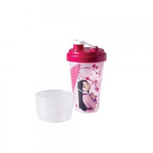 Imagem do produto - Mini Shakeira de Plástico 320 ml com Misturador, Fechamento Rosca e Sobretampa Articulável Mulan