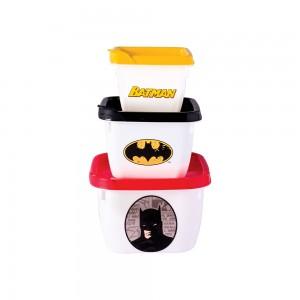 Imagem do produto - Conjunto de Potes de Plástico Quadrados Conect Batman 3 unidades