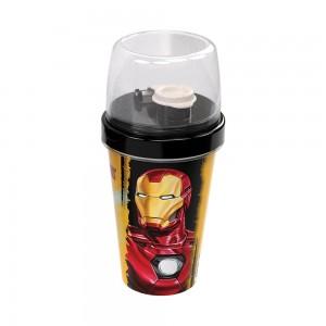 Imagem do produto - Mini Shakeira de Plastico 320 ml com Misturador, Fechamento Rosca e Sobretampa Articulável Avengers Homem de Ferro