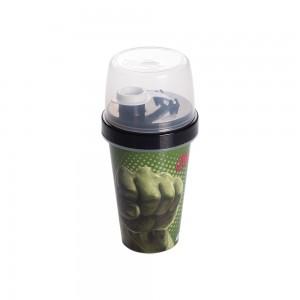 Imagem do produto - Mini Shakeira de Plastico 320 ml com Misturador, Fechamento Rosca e Sobretampa Articulável Avengers Hulk