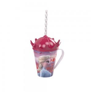 Imagem do produto - Caneca de Plástico 360 ml com Tampa Coroa e Canudo Frozen