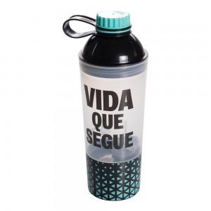 Imagem do produto - Shakeira de Plástico 600 ml com Tampa Rosca Fixa e Compartimento Vip Fitness