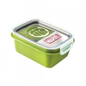 Imagem do produto - Marmita de Plástico 850 ml com Divisória Removível e Travas Laterais Avengers Hulk