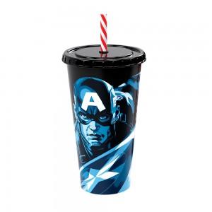 Imagem do produto - Copo Refrigerante de Plástico 700 ml com Tampa e Canudo Avengers Capitão América