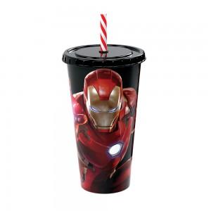 Imagem do produto - Copo Refrigerante de Plástico 700 ml com Tampa e Canudo Avengers Homem de Ferro