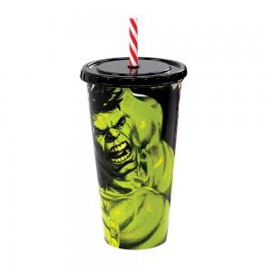 Imagem do produto - Copo Refrigerante de Plástico 700 ml com Tampa e Canudo Avengers Hulk