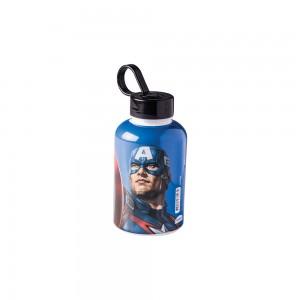 Imagem do produto - Garrafa de Plástico 280 ml com Tampa Rosca e Pegador Fixo Cilíndrica Avengers Capitão América