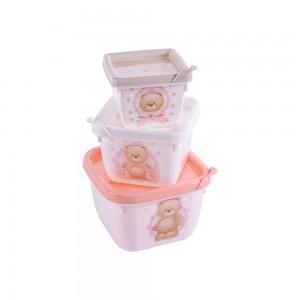 Imagem do produto - Conjunto de Potes de Plástico Quadrados Ursa Conect 3 unidades