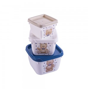 Imagem do produto - Conjunto de Potes de Plástico Quadrados Ursol Conect 3 unidades