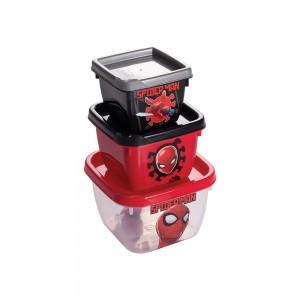Imagem do produto - Conjunto de Potes de Plástico Quadrados Conect Homem Aranha 3 unidades