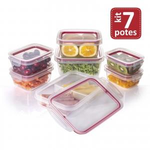 Imagem do produto - Kit de Potes de Plástico Herméticos com Travas 7 Peças