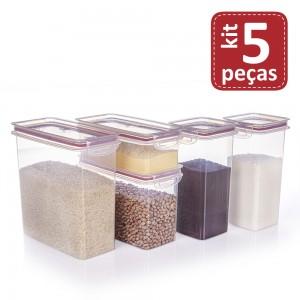 Imagem do produto - Kit de Potes de Plástico para Mantimentos Herméticos com Travas 5 Peças