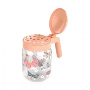 Imagem do produto - Porta Queijo Ralado de Plástico com Alça 450 ml Borboleta Rosa