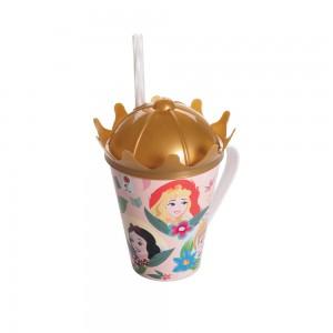 Imagem do produto - Caneca de Plástico 360 ml com Tampa Coroa e Canudo Princesas