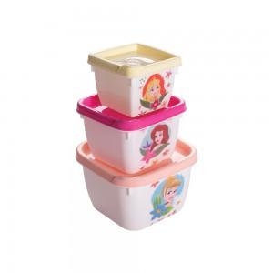 Imagem do produto - Conjunto de Potes de Plástico Quadrados Princesasl Conect 3 unidades