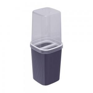 Imagem do produto - Porta Escovas de Plástico com Tampa Classic Frisos Azul