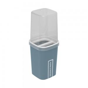 Imagem do produto - Porta Escovas e Creme Dental de Plástico com Tampa Classic Fosca Azul