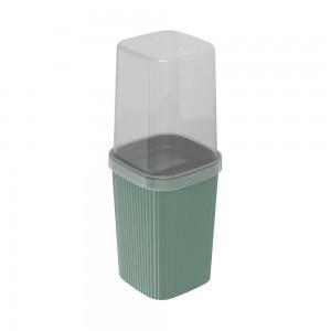 Imagem do produto - Porta Escovas de Plástico com Tampa Classic Frisos Verde