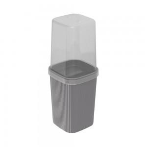 Imagem do produto - Porta Escovas de Plástico com Tampa Classic Frisos Cinza