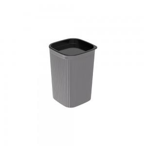 Imagem do produto - Porta Cotonete ou Algodão de Plástico Classic Frisos Cinza
