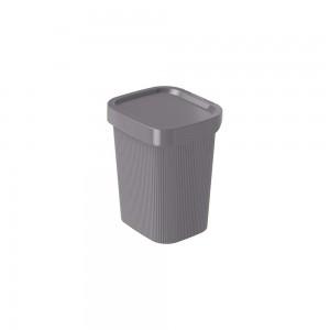 Imagem do produto - Lixeira de Plástico com Tampa 4,5 L Classic Frisos Cinza