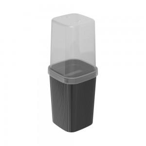 Imagem do produto - Porta Escovas de Plástico com Tampa Classic Frisos Preto