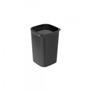 Imagem do produto - Porta Cotonete ou Algodão de Plástico Classic Frisos Preto