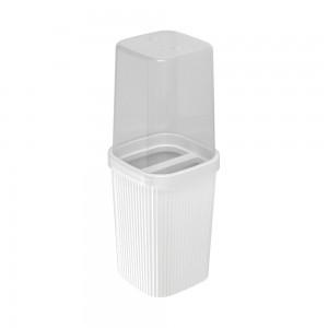 Imagem do produto - Porta Escovas de Plástico com Tampa Classic Frisos Branco