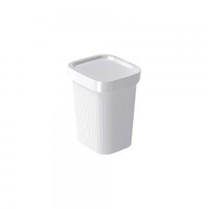 Imagem do produto - Lixeira de Plástico com Tampa 4,5 L Classic Frisos Branco