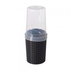 Imagem do produto - Porta Escovas e Creme Dental de Plástico com Tampa Trama Preto