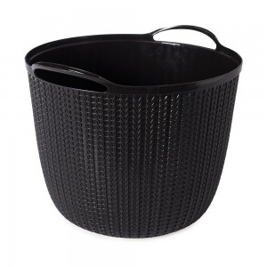 Imagem do produto - Cesta de Plástico Redonda 25,5 L com Alças Trama Preto